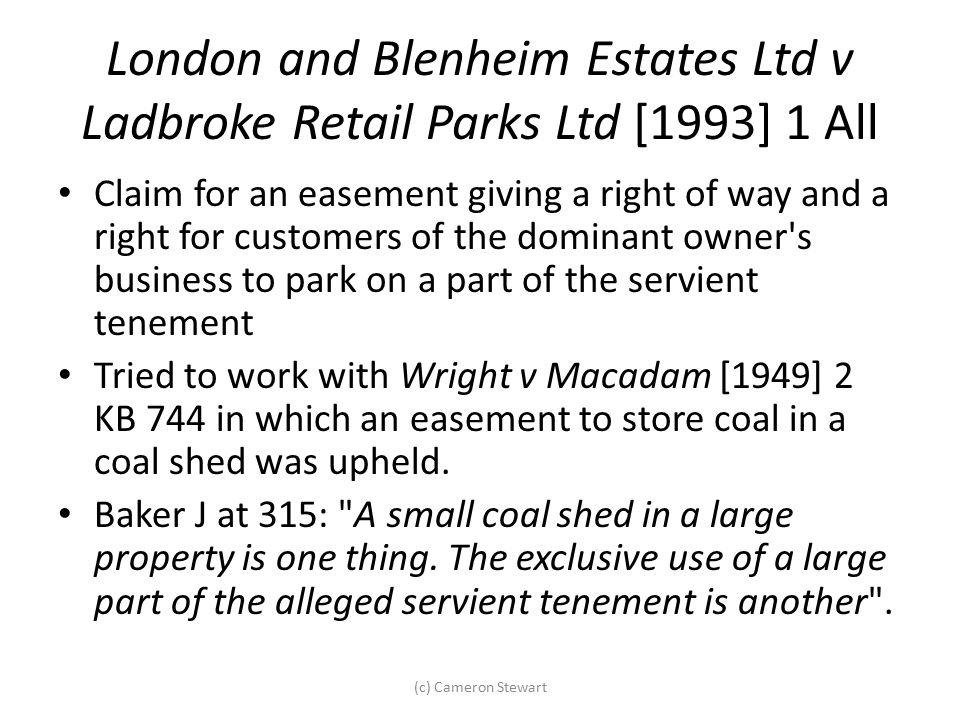 London and Blenheim Estates Ltd v Ladbroke Retail Parks Ltd [1993] 1 All